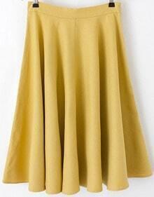 Yellow High Waist Pleated Skirt