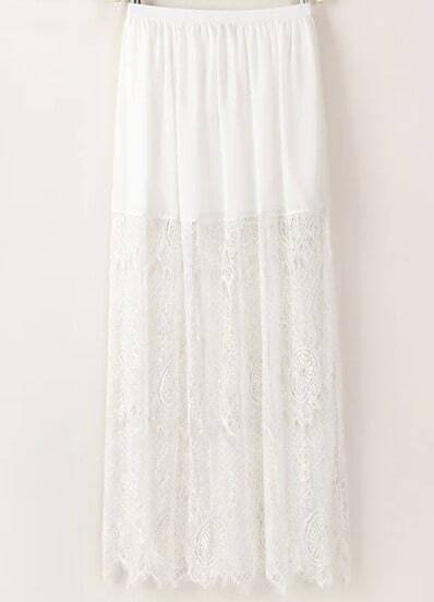White Elastic Waist Lace Pleated Skirt