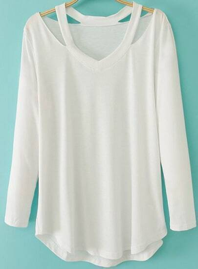White Long Sleeve Halter Loose T-Shirt