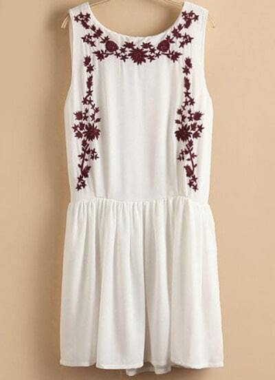 White Sleeveless Embroidered Pleated Tank Dress