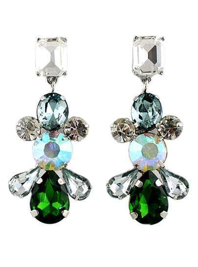 Green White Drop Gemstone Silver Earrings
