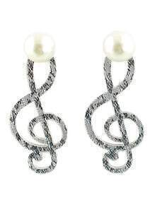 Silver Pearl Music Notation Earrings