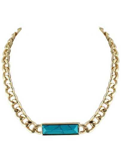 Blue Gemstone Gold Chain Necklace