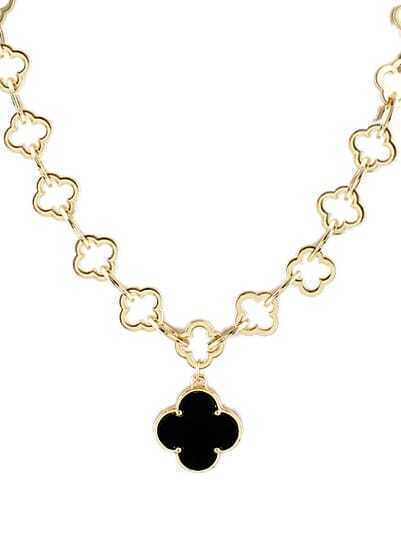Black Glaze Gold Hollow Flowers Necklace