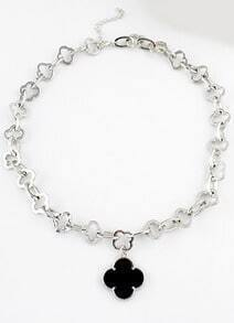 Black Glaze Silver Hollow Flowers Necklace