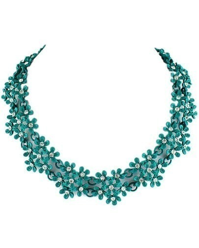 Green Diamond Flowers Necklace