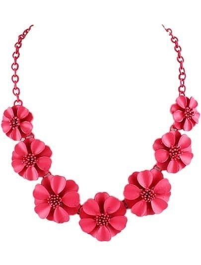 Red Flowers Chain Necklace