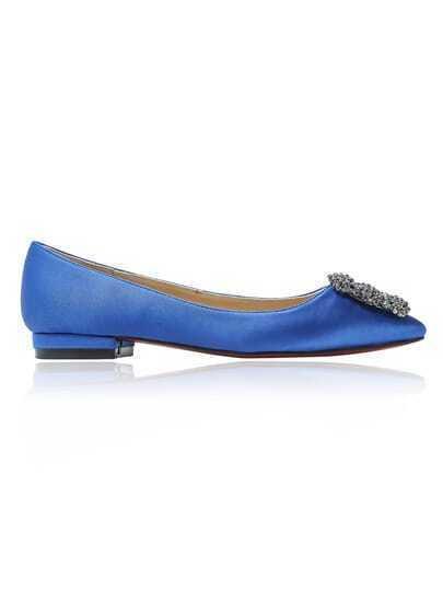 Blue Sparkle Rhinestone Almond Toe Flats