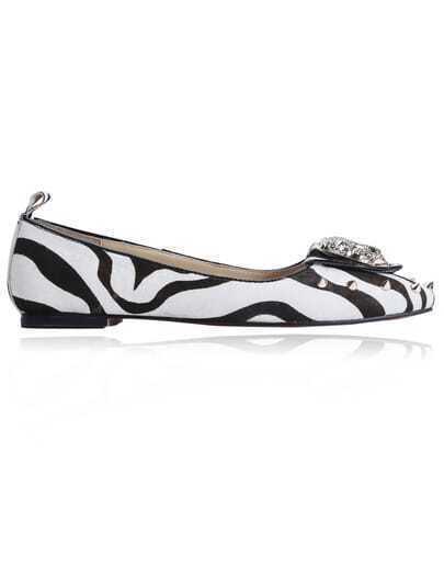 Black White Zebra Leopard Rivet Embellished Flats