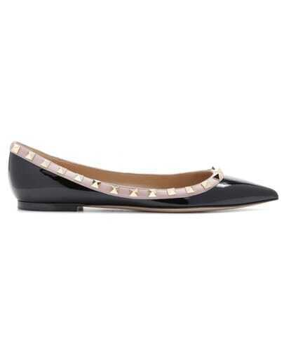 Black Rivet Point Toe Patent Leather Shoes