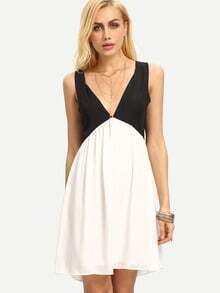 Black White Deep V Neck Hollow Chiffon Dress