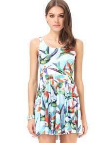 Blue Sleeveless Birds Print Pleated Dress