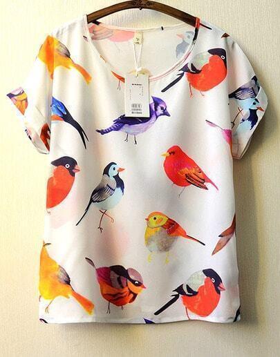 White Short Sleeve Birds Print Blouse