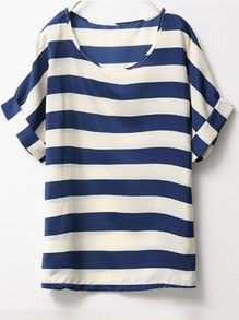 Blue White Short Sleeve Striped Chiffon Blouse