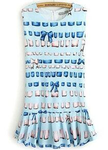 Blue Sleeveless Bow Stars Print Ruffle Dress
