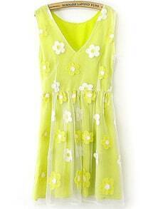 Neon Yellow V Neck White Applique Organza Dress