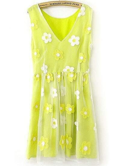 Neon Yellow V Neck White Applique Organza Dress