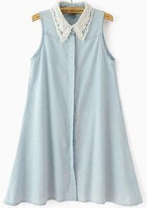 Blue Contrast Hollow Lapel Sleeveless Denim Dress