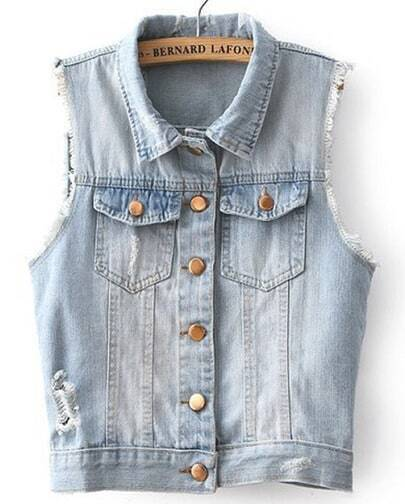 Blue Lapel Sleeveless Ripped Denim Jacket