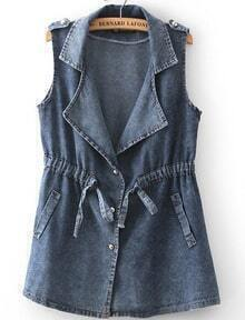 Navy Lapel Sleeveless Epaulet Denim Jacket