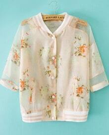 Pink Stand Collar Floral Pockets Jacket