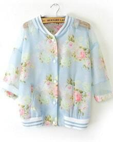 Blue Stand Collar Floral Pockets Jacket