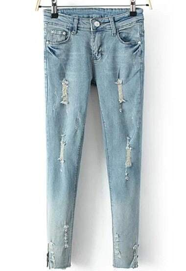 Blue Pockets Ripped Zipper Denim Pant