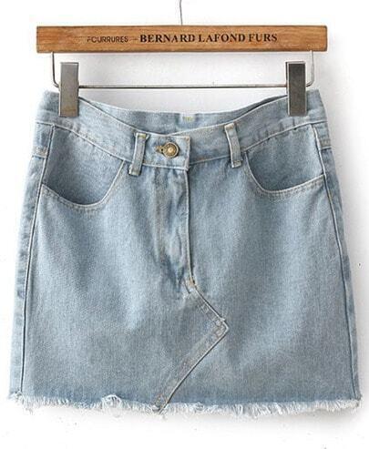 Blue Pockets Fringe Denim Bodycon Skirt