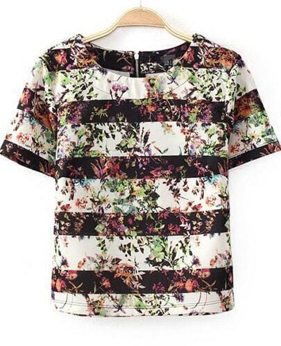 Black White Striped Short Sleeve Floral T-Shirt