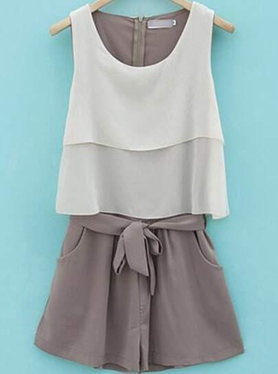Grey Sleeveless Zipper Pockets Belt Jumpsuit