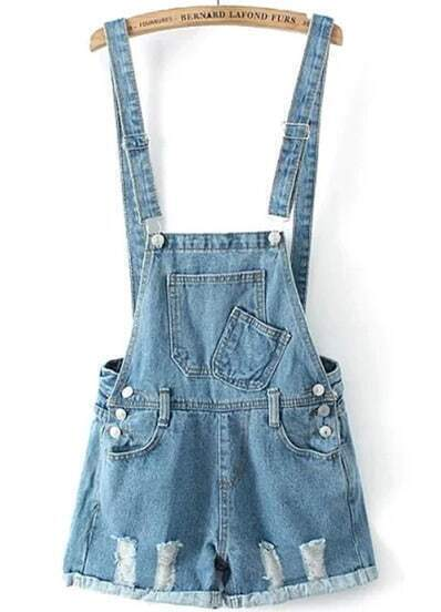 Blue Strap Ripped Pockets Flange Denim Jumpsuit