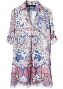 Red V Neck Long Sleeve Vintage Floral Dress