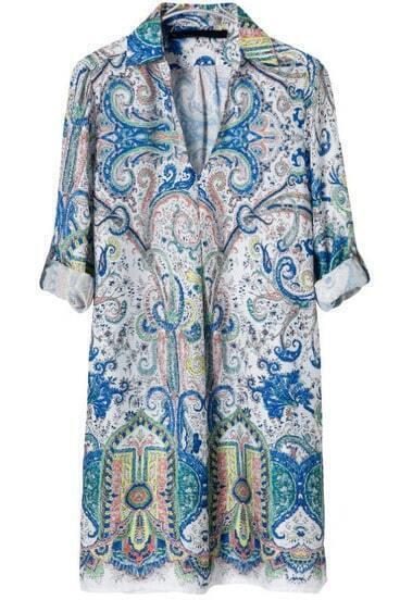 Green V Neck Long Sleeve Vintage Floral Dress