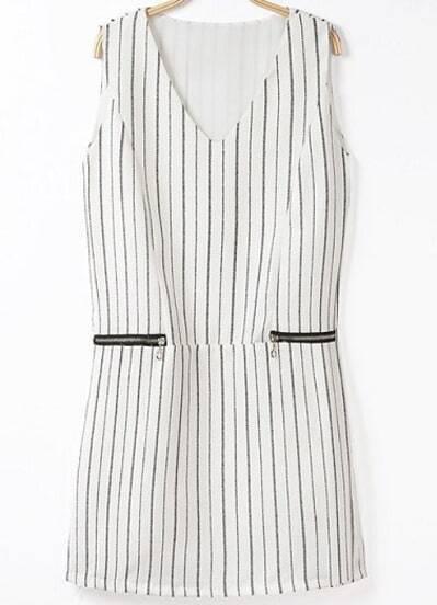 Белое полосатое платье
