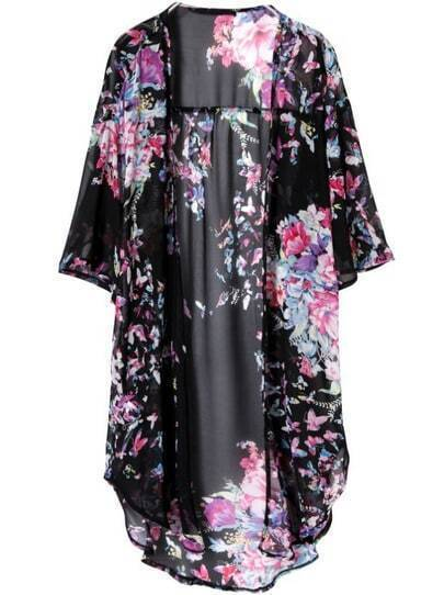 Black Half Sleeve Floral Chiffon Loose Blouse