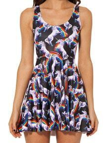 Black Sleeveless Horse Print Pleated Dress