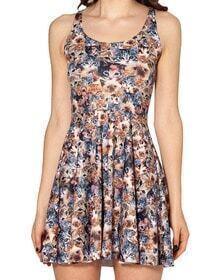 Multi Sleeveless Cat Print Pleated Dress