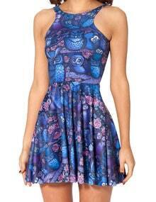 Blue Sleeveless Owl Print Pleated Dress