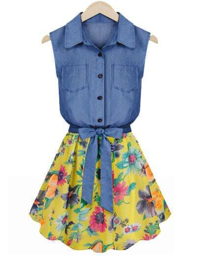 Blue Contrast Chiffon Floral Pattern Denim Dress