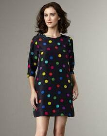 Black Half Sleeve Color Polka Dot Dress
