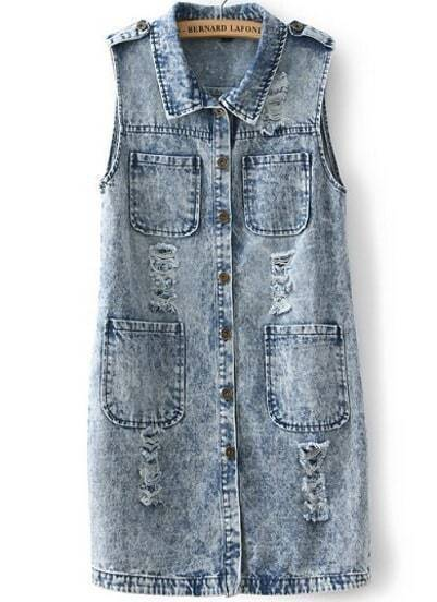 Blue Lapel Sleeveless Ripped Pockets Denim Coat