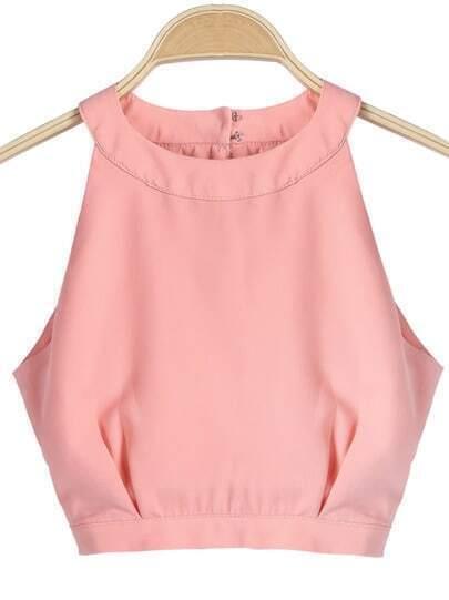 Pink Sleeveless Split Crop Chiffon Vest