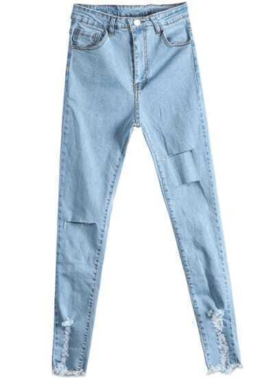 Light Blue Ripped Pockets Denim Pant