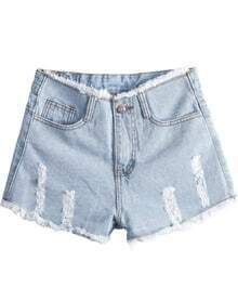 Light Blue High Waist Ripped Fringe Denim Shorts