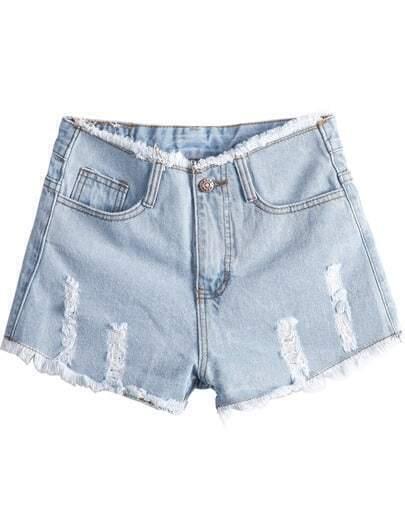 Light Blue High Waist Ripped Fringe Denim Shorts
