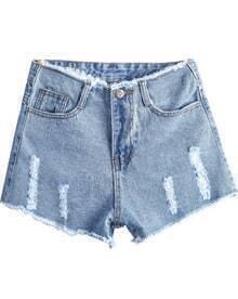 Blue High Waist Ripped Fringe Denim Shorts