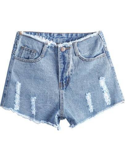 Blue High Waist Ripped Fringe Denim Shorts