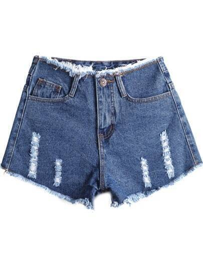 Navy High Waist Ripped Fringe Denim Shorts