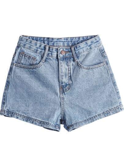 Light Blue Simple Design Straight Denim Shorts
