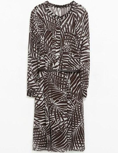 Brown Stand Collar Long Sleeve Plant Print Dress